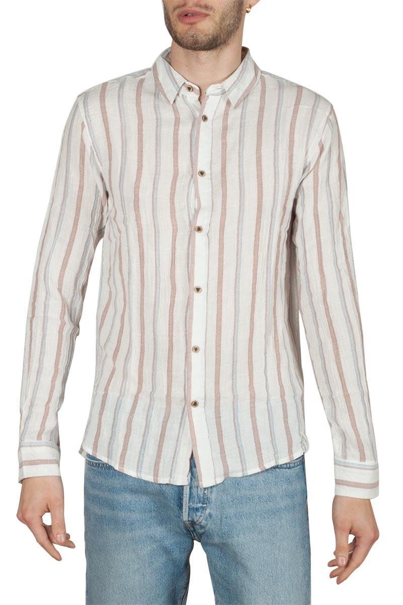 Anerkjendt Neal μακρυμάνικο ριγέ πουκάμισο ημίλευκο - 9219030