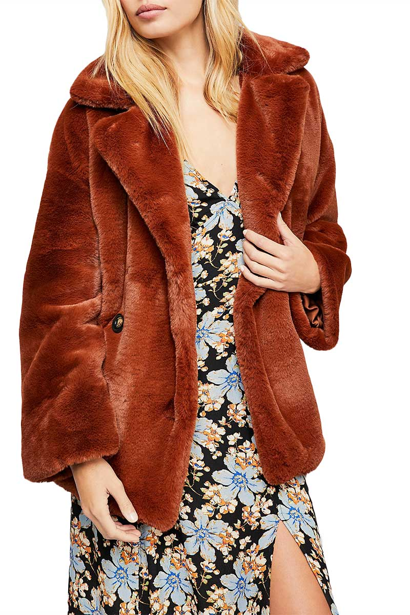 Free People Kate oversized faux fur coat terracotta