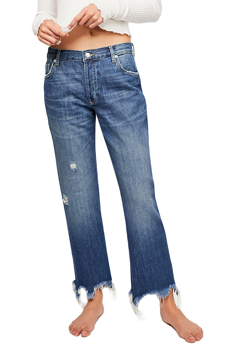 Free People Maggie mid-rise straight-leg jeans blue - ob832365