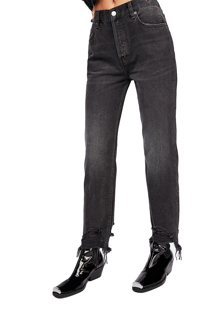Free People chewed up mid-rise straight-leg jeans rugged black - ob907531