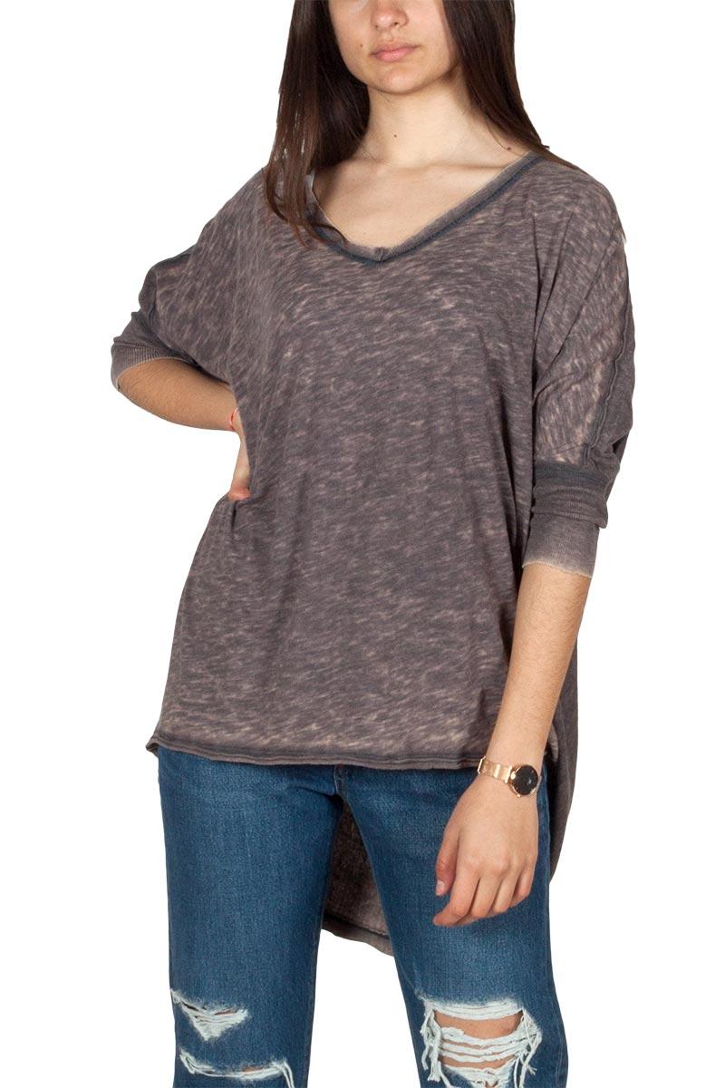 Free People Catch waves oversize μπλούζα ξεβαμμένο μαύρο - ob900529-blk