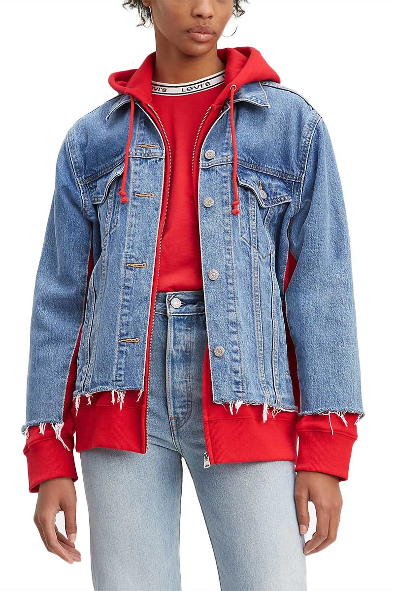 Levi's® ex-boyfriend hybrid hooded trucker jacket piggy back red - 72737-0000