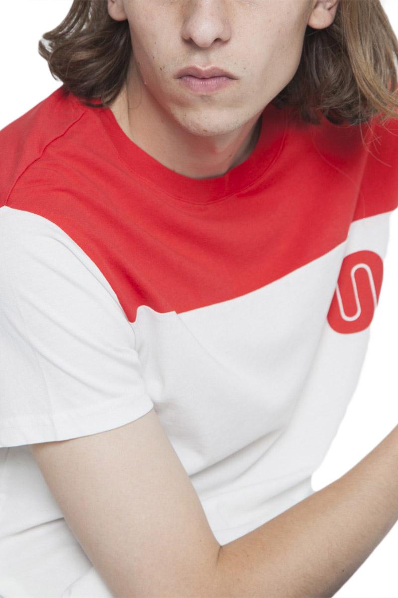 Thinking Mu organic cotton t-shirt red rugby