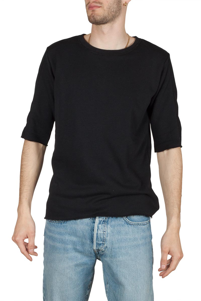 Emanuel Navaro raw edge t-shirt μαύρο - em-1928-blk