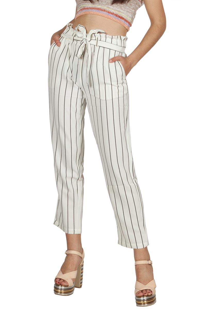 Rut & Circle Ofelia cropped ριγέ παντελόνι λευκό-μαύρο - 1031-006047
