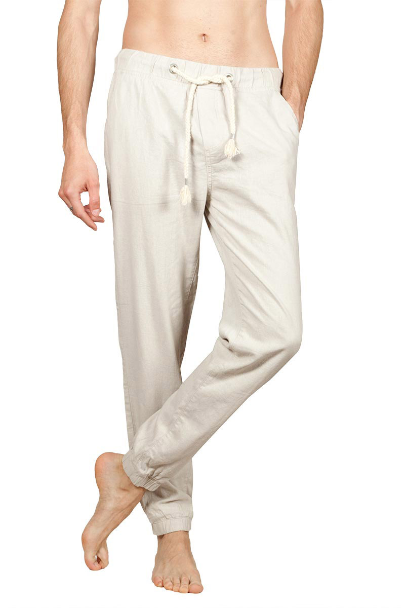 Men's linen blend jogger pants light beige