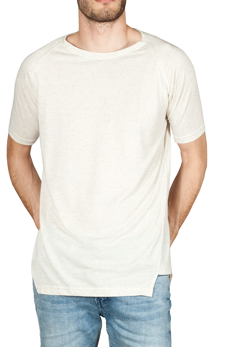 Emanuel Navaro asymmetrical t-shirt ecru melange