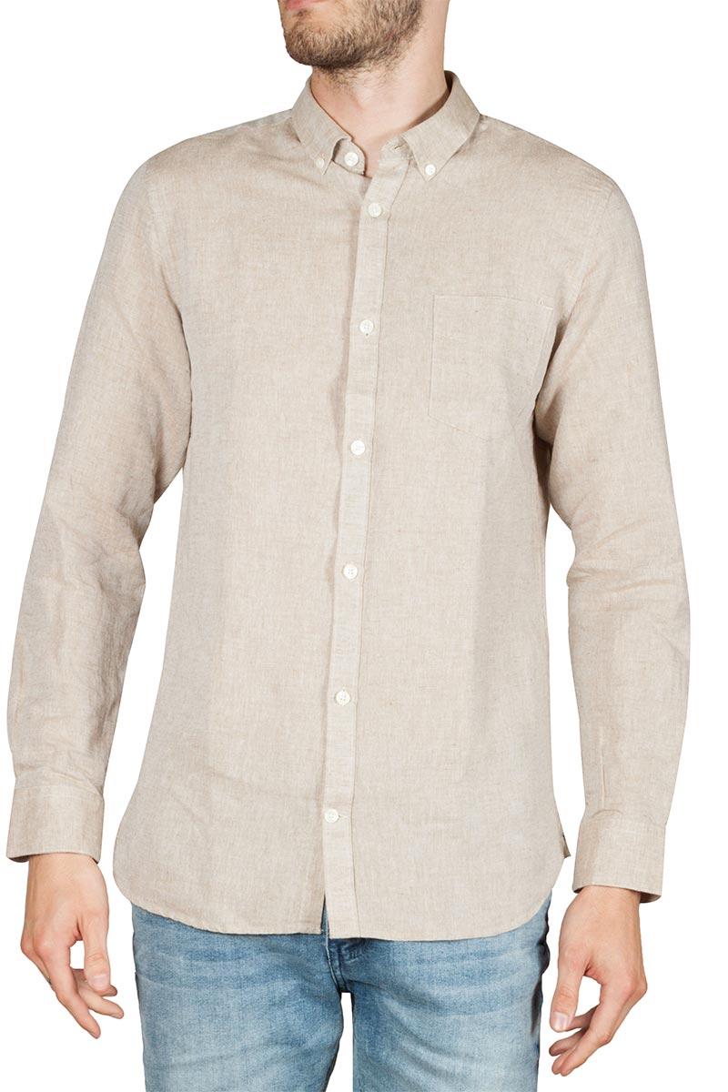 Gnious Linus linen blend men's shirt beige