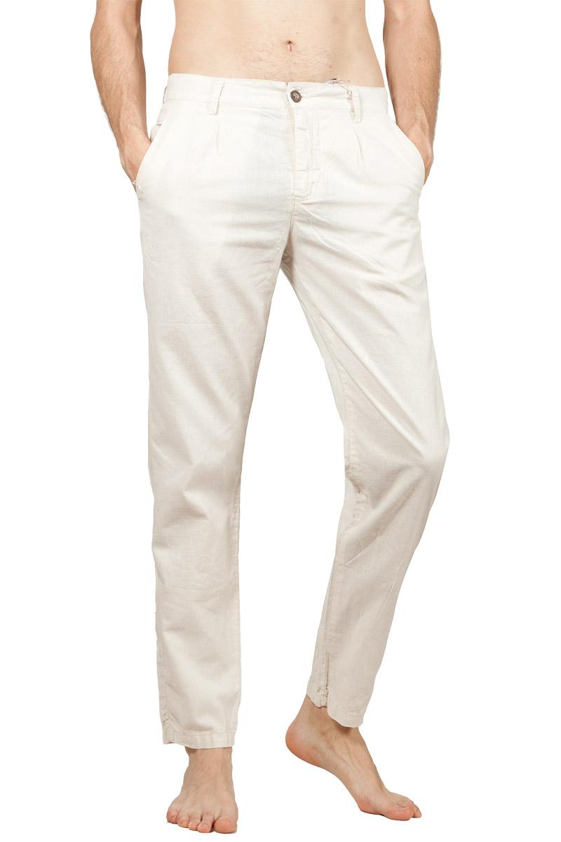 Ανδρικό linen-blend παντελόνι εκρού - pa2027-ec