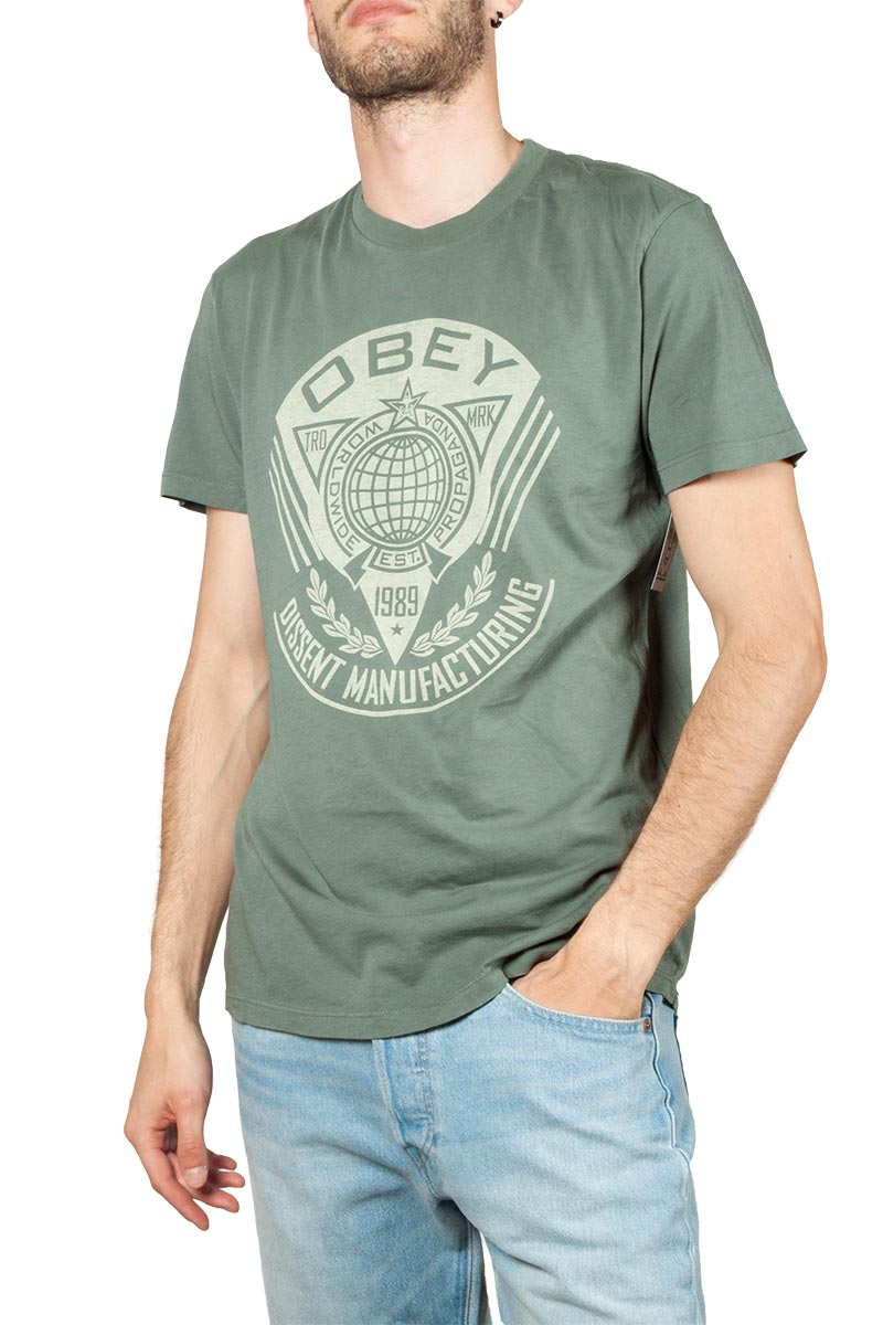 Obey World Prop Badge superior t-shirt steel green - 166141921