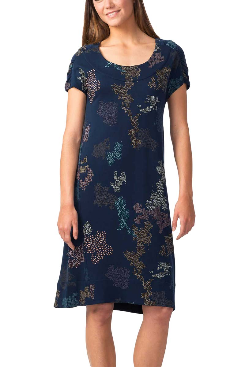 Skunkfunk Eneka Lyocell camo printed dress blue