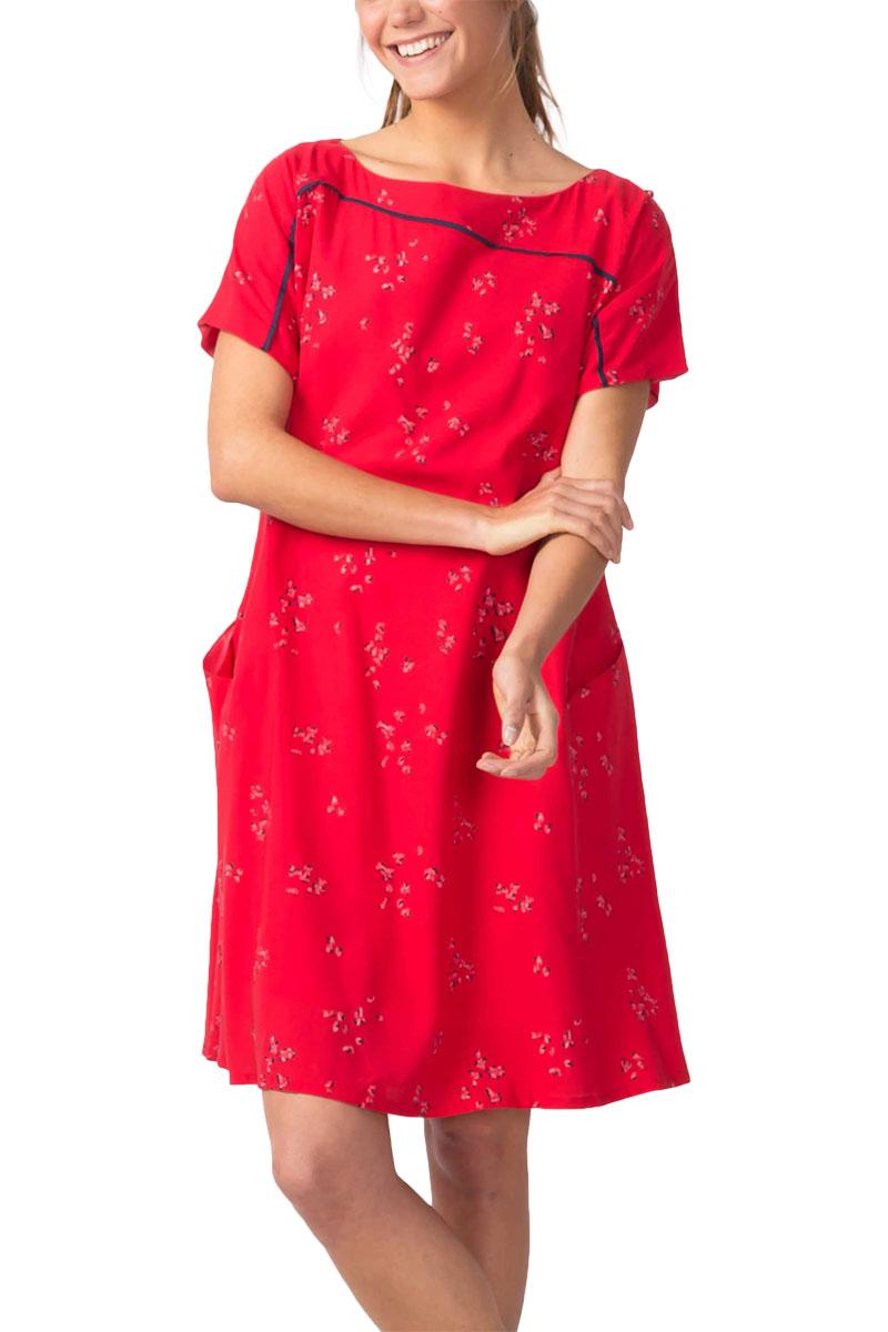 Skunkfunk Igantzi Lyocell slip-on floral dress red