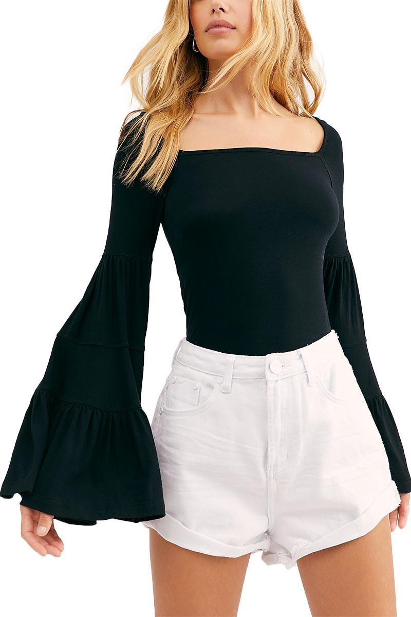 Free People Babetown μαύρη μπλούζα με καμπάνα μανίκια - ob1013580