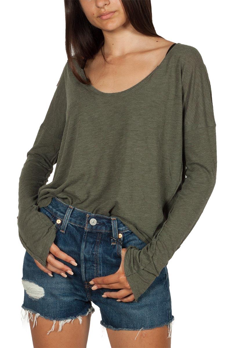 Free People Sienna μακρυμάνικη ριχτή μπλούζα χακί - ob1007377