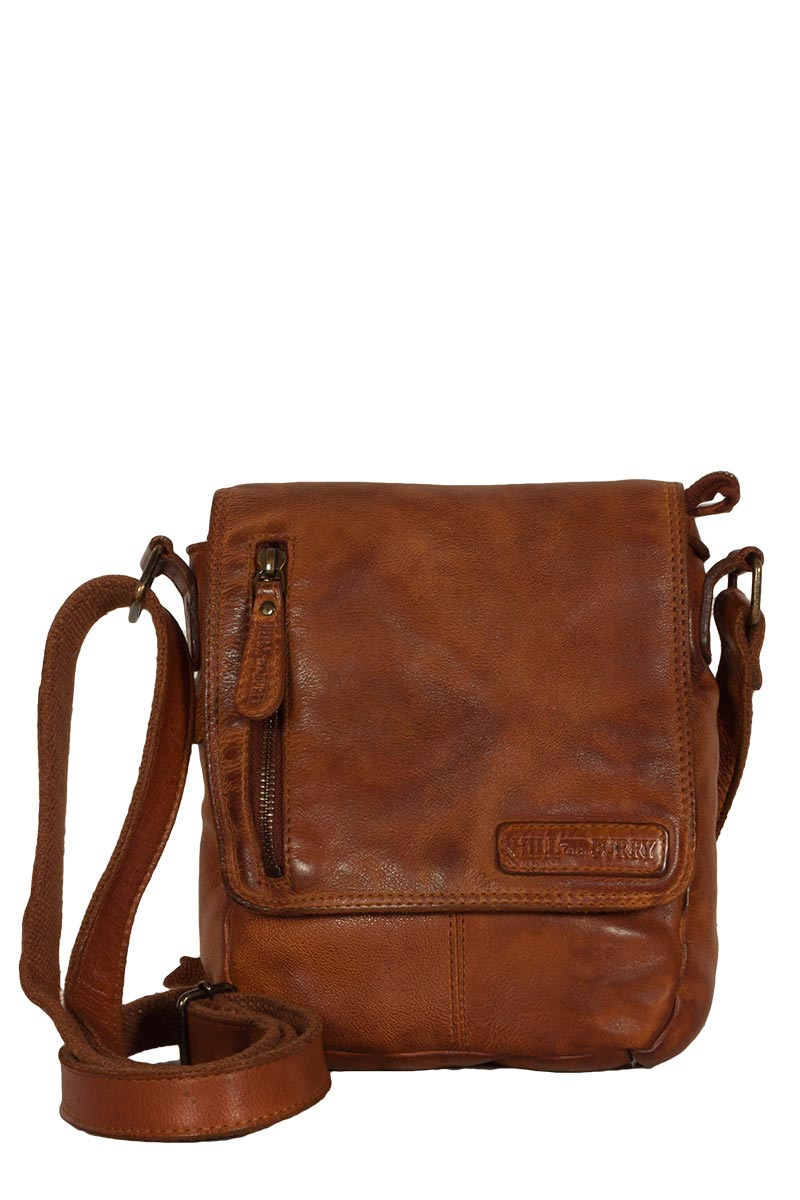 Hill Burry men's leather cross body bag vintage brown
