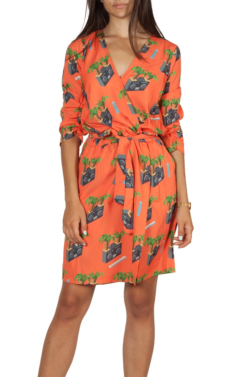 Migle + me radio print κρουαζέ φόρεμα πορτοκαλί - la-dr621