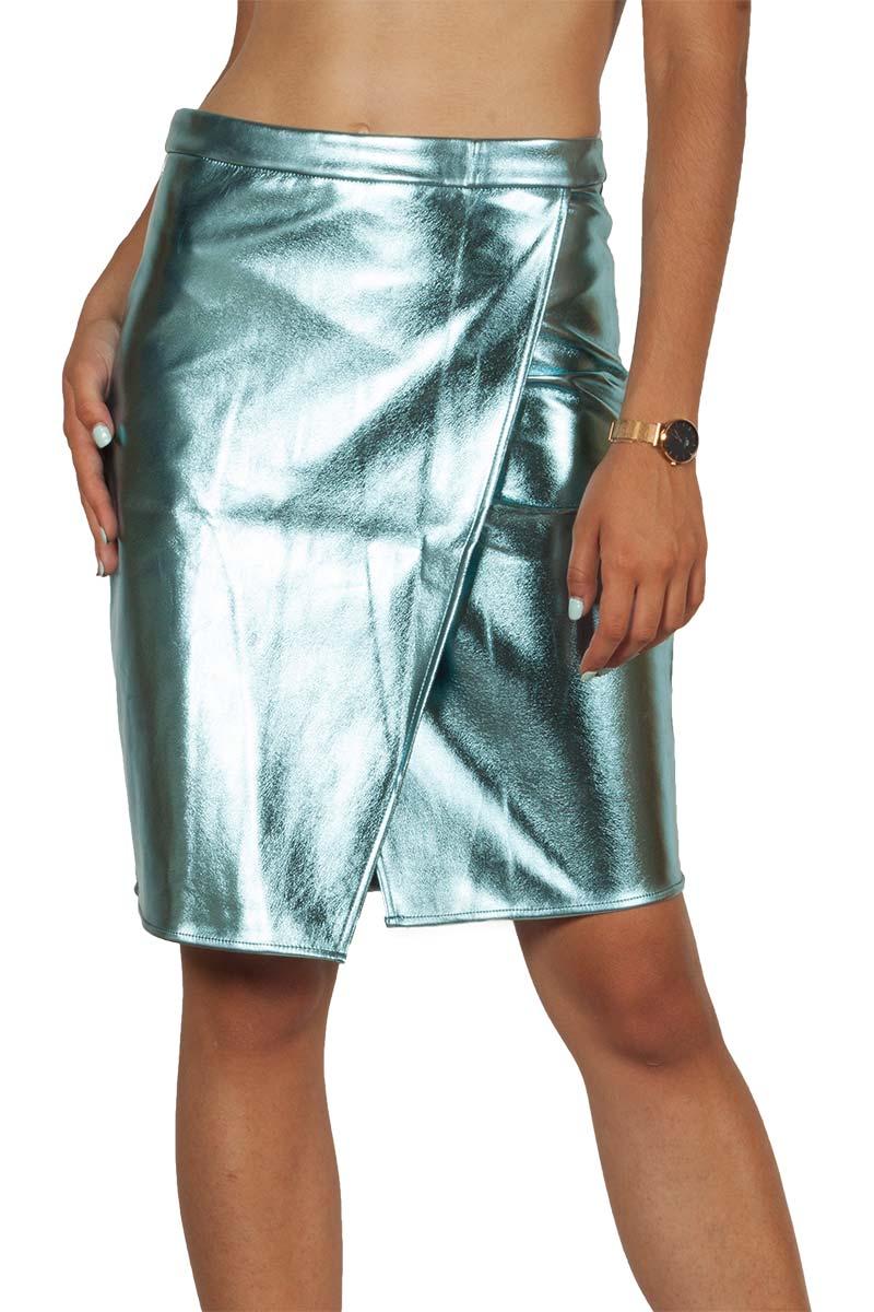 Migle + me faux-leather party skirt light mint - la-sk101-power