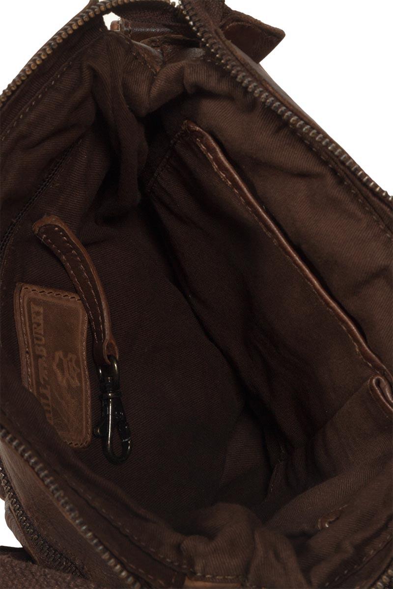 Hill Burry men's leather cross body bag vintage dark brown