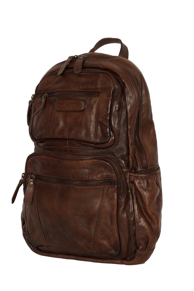 Hill Burry leather backpack vintage dark brown
