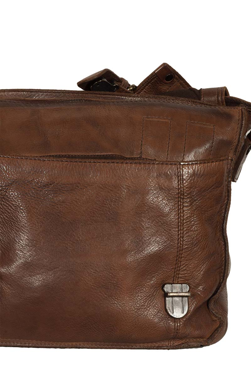 Hill Burry men's leather messenger bag vintage dark brown