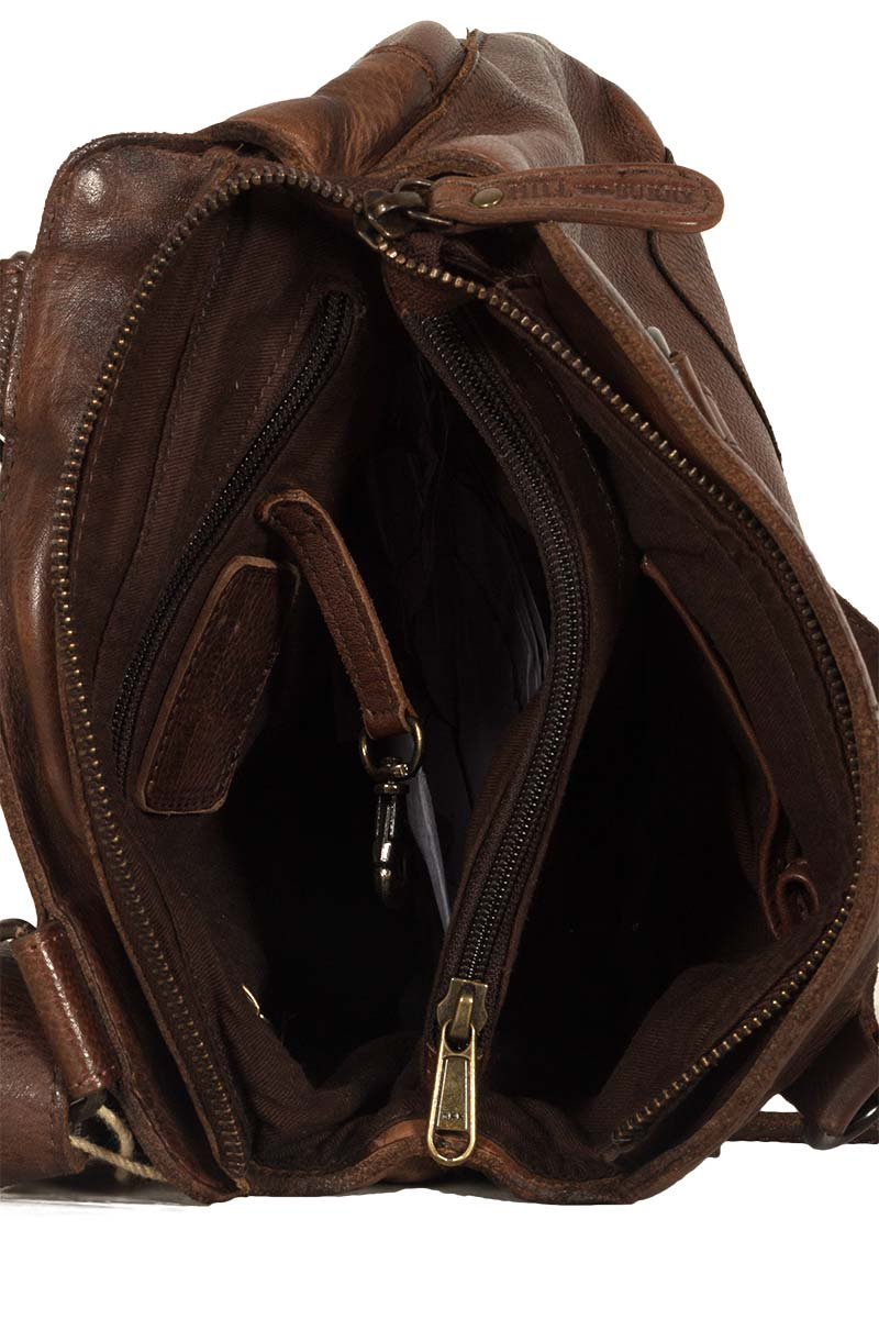 Hill Burry women's leather backpack vintage dark brown