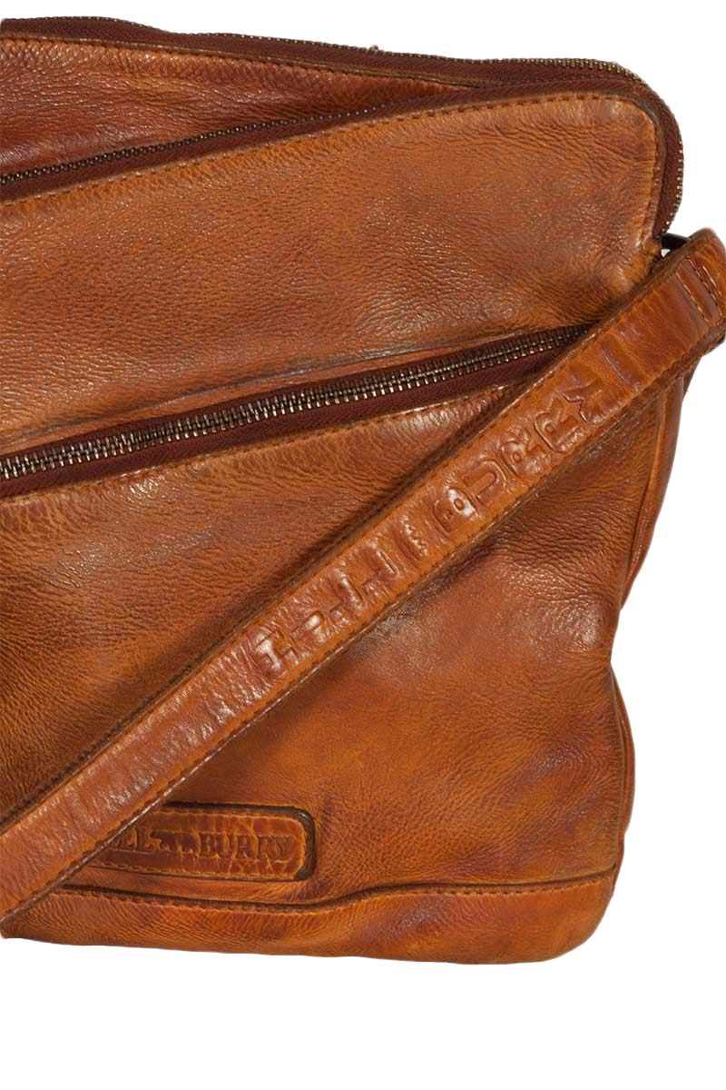 Hill Burry men's leather cross body bag vintage tan