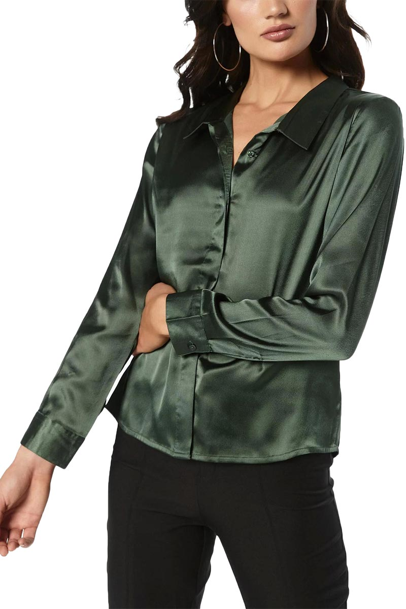 Rut & Circle Rebecka σατέν πουκάμισο σκούρο πράσινο - 19-3-03-gn