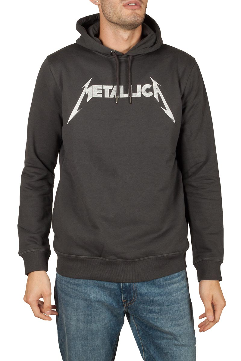 Amplified Metallica white logo hoodie slate grey - zav390mhc