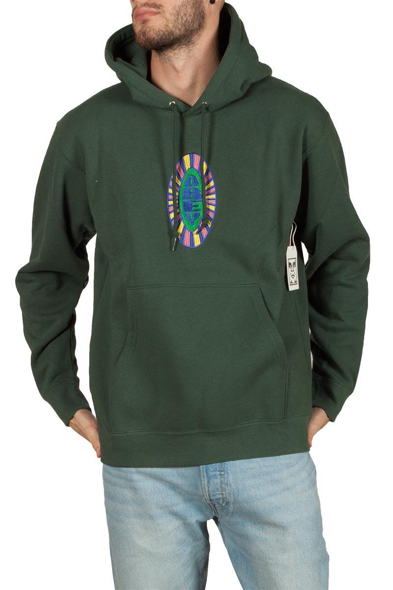 Obey Psych φούτερ με κουκούλα πράσινο - 112470072