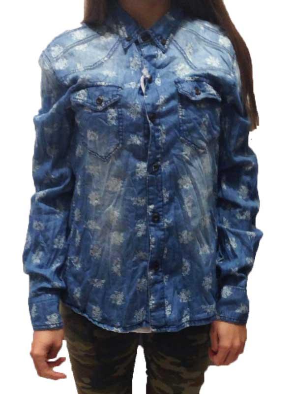Batik print denim μακρυμάνικο πουκάμισο