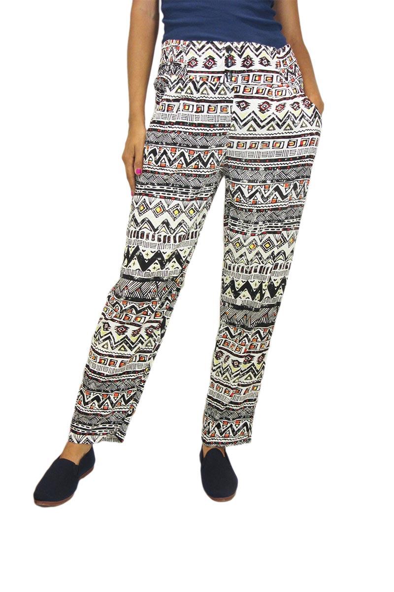 Γυναικεία παντελόνα με αζτέκ πριντ - pt95-186