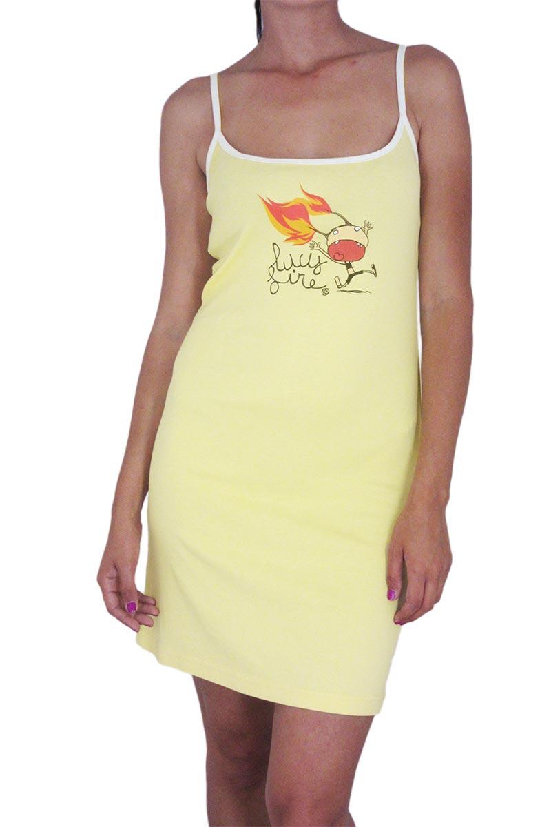 Kanabeach μίνι βαμβακερό φόρεμα κίτρινο - 720-yw