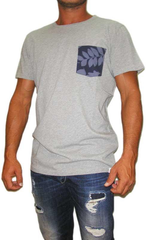 Wesc ανδρικό t-shirt με τσεπάκι Leaves γκρι μελανζέ