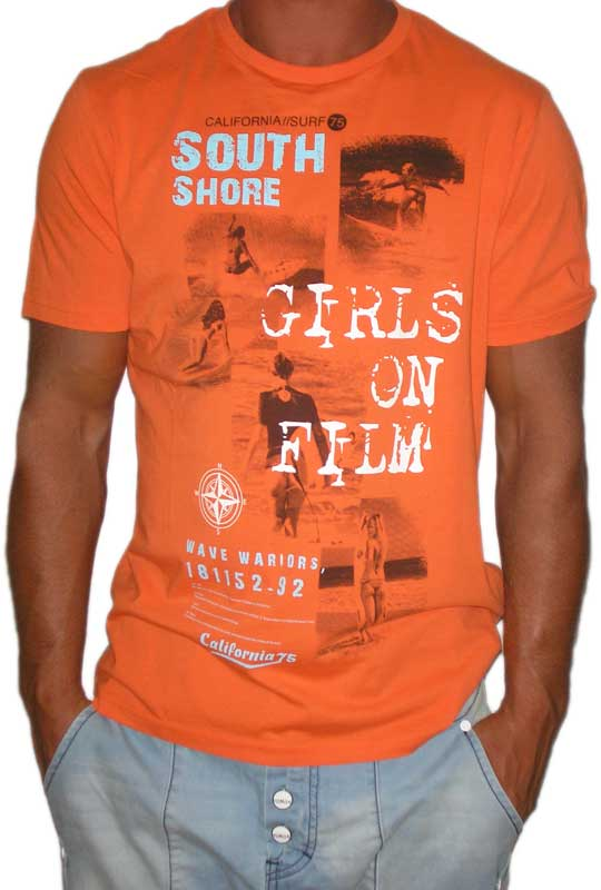 "South Shore ανδρικό T-shirt ""Girls on film"" πορτοκαλί"