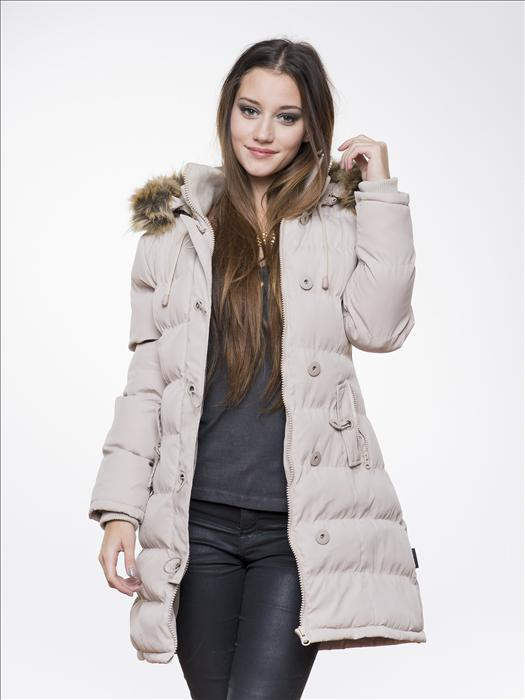 8caf6d2c84c6 Γυναικείο εκρού puffer μακρύ παλτό με κουκούλα