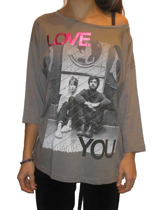Γυναικεία μακρυμάνικη μπλούζα σε γκρι