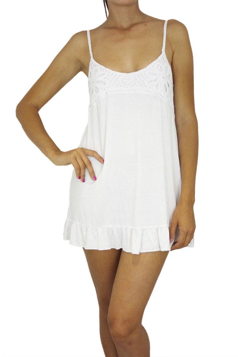 5e6186891b5 Super mini φόρεμα λευκό με κροσέ τιράντες