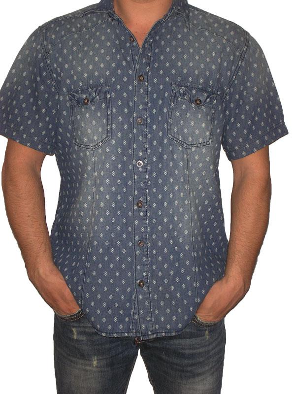 Denim κοντομάνικο πουκάμισο με print