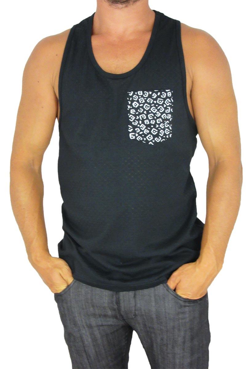 fdc05bad5ed3 Bellfield Martino ανδρικό αμάνικο μπλουζάκι μαύρο