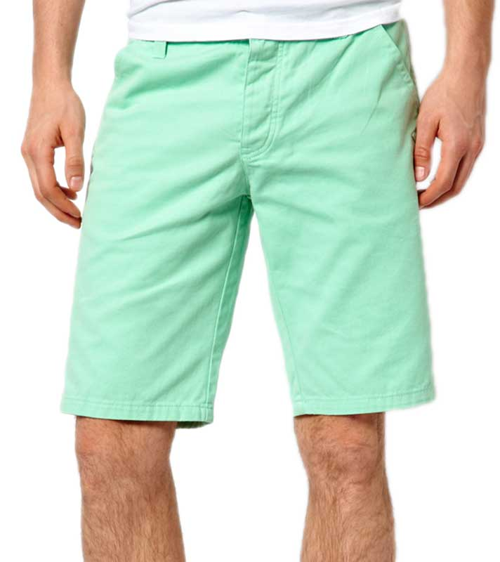 How to Wear Colorful Shorts. Subscribe to Alpha M. on YouTube Big, bold, pastel colors are in for summer men's shorts: light blue, yellow, purple, salmon. For the record, salmon is peach-ish orange with a sprinkling of dusty rose. Aaron Marino of alpha m. describes shopping for shorts and the desire to step out of your box.