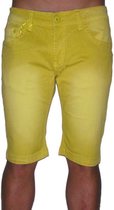 Ανδρική στενή denim βερμούδα σε φωτεινό κίτρινο