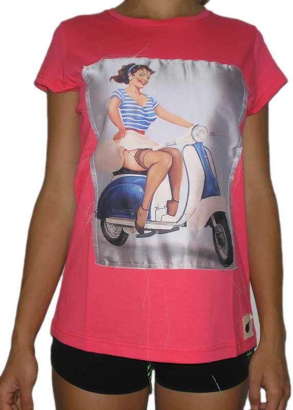 Bigbong γυναικείο t-shirt φούξια με πατσγουόρκ στάμπα