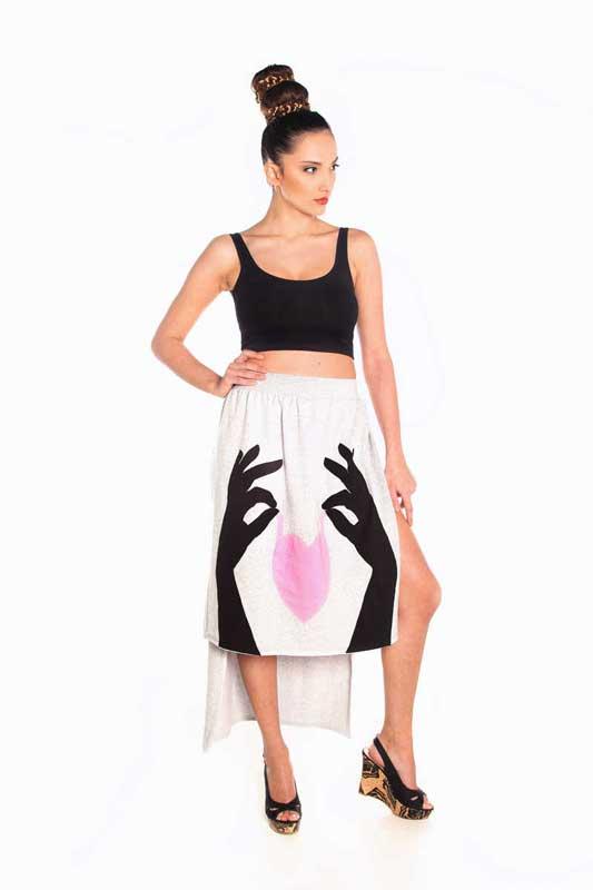 Fabric Art γυναικεία φούστα ασύμμετρη με ενσωματωμένο σόρτς