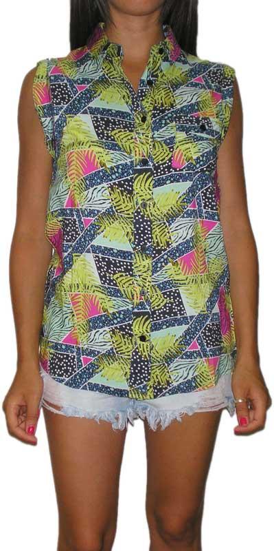 Bellfield γυναικείο αμάνικο πουκάμισο all over print