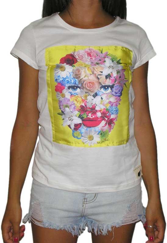 Bigbong γυναικείο t-shirt off white με πατσγουόρκ