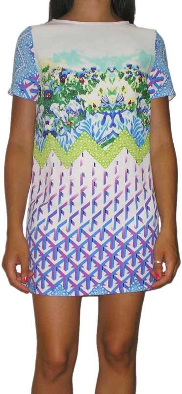 Glamorous κοντομάνικο μίνι φόρεμα με πριντ - jl-4597-a
