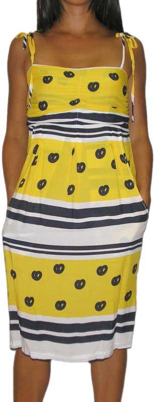 Rutme κίτρινο φόρεμα με τιράντες - 8312809