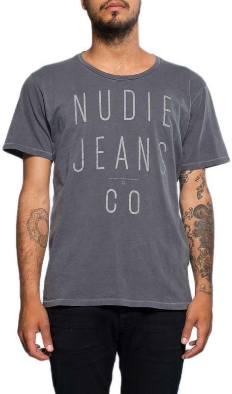 Nudie ανδρικό t-shirt Nudiejeansco print γκρι