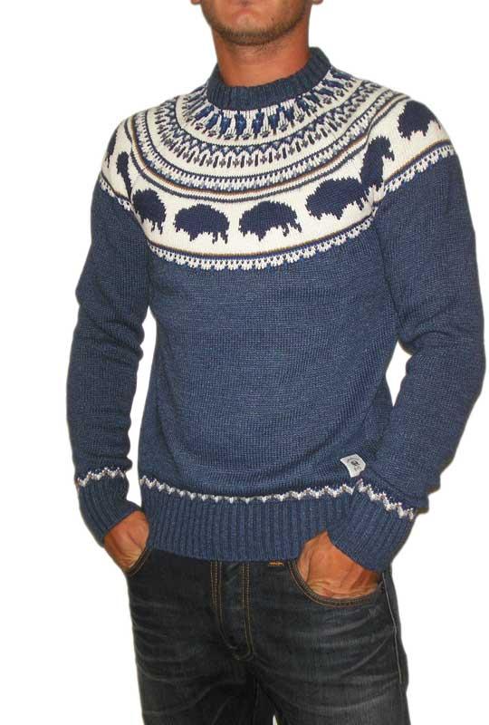 Bellfield ανδρικό ζακάρ πουλόβερ Ruben μπλε μελανζέ