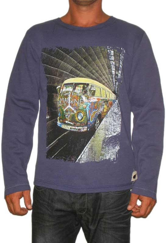 Bigbong ανδρικό φούτερ indigo με graffiti magine print